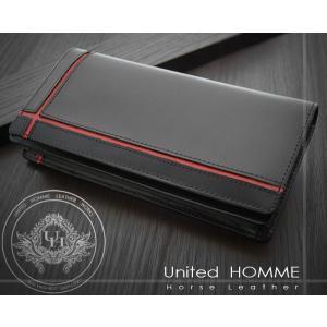 長財布 メンズ長財布 クロスライン United HOMME UH-1074 赤|lvx200807