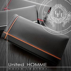 長財布 メンズ長財布 クロスライン United HOMME UH-1074 オレンジ|lvx200807