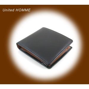 二つ折り財布 メンズ二つ折り財布 メンズ短財布 黒茶 United HOMME UH-112 黒|lvx200807