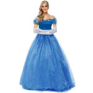 c0f76568e7bb3 シンデレラドレス 青 女性用 ディズニープリンセス Cinderella コスプレ衣装 シンデレラ 大人用 コスチューム ハロウィン コスプレ 仮装 大人  ドレス