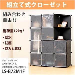 (ポイント5倍中) (アウトレット) 収納 ボックス ケース おしゃれ 自由組合せ 黒 模様 EasyBox LS-B72M1F 組立式 ハンガーバー付き | 耐荷重12kg/1棚|lysin