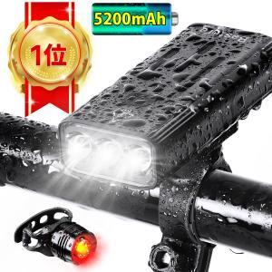 自転車 ライト led usb 充電式 モバイルバッテリー 5200mAh 明るい ヘッドライト テールライト 防水 工具不要 人気 おすすめ (kx3)