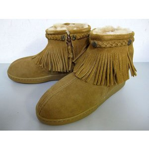 MINNETONKA Sheepskin Side Zip Fringe Boot 3421|m-bros