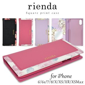 fe31aece2e スマホケース iPhone8/7/6s/6/XR/XSMax/XS/X rienda リエンダ スクエア手帳ケース 花柄 ブランド 手帳