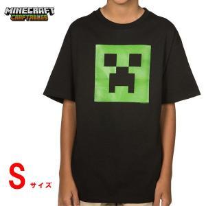 マインクラフト キッズTシャツ クリーパーフェイス/ブラック Sサイズ (正規品)|m-onlineshop