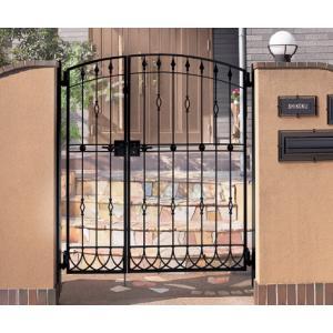 四国化成 ロートアイアン調アルミ鋳物門扉 ブルーム門扉M10型 両開き門柱セット ブラックつや消し 04+08-14|m1shop