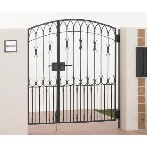 四国化成 ロートアイアン調アルミ鋳物門扉 ブルーム門扉M1型 両開き門柱セット ブラックつや消し 04+08-12|m1shop