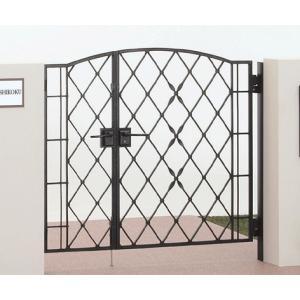 四国化成 ロートアイアン調アルミ鋳物門扉 ブルーム門扉M4型 両開き門柱セット ブラックつや消し 04+08-12|m1shop