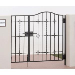 四国化成 ロートアイアン調アルミ鋳物門扉 ブルーム門扉M5型 両開き門柱セット ブラックつや消し 04+08-10|m1shop