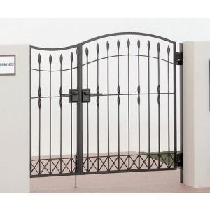 四国化成 ロートアイアン調アルミ鋳物門扉 ブルーム門扉M6型 両開き門柱セット ブラックつや消し 04+08-10|m1shop