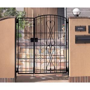 四国化成 ロートアイアン調アルミ鋳物門扉 ブルーム門扉 M8型 両開き門柱セット ブラックつや消し 04+08-14|m1shop