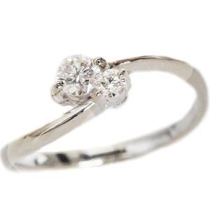 プラチナ ダイヤモンド 婚約指輪 2石 VSクラス Pt900 指輪 ダイヤ 0.13ct エンゲージリング|ma38