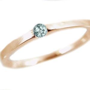 アクアマリン リング ピンクゴールドk10 ピンキーリング k10pg 指輪 3月誕生石|ma38