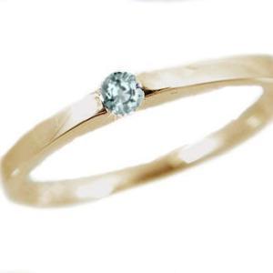 アクアマリン リング イエローゴールドk10 ピンキーリング k10 指輪 3月誕生石|ma38
