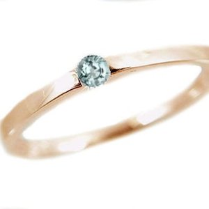 アクアマリン リング ピンクゴールドk18 ピンキーリング k18pg 指輪 3月誕生石|ma38