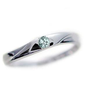 アクアマリン ピンキー リング ホワイトゴールドK18 K18wg 指輪 3月誕生石|ma38