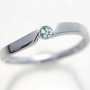 アクアマリン ピンキー リング ホワイトゴールドk18 3月誕生石 k18wg 指輪|ma38
