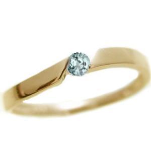 アクアマリン ピンキー リング イエローゴールドk18 3月誕生石 k18 指輪|ma38