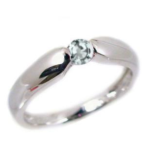 アクアマリン リング ホワイトゴールドk18  ピンキーリング k18wg 指輪 3月誕生石|ma38