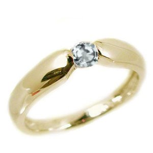 アクアマリン リング イエローゴールドk18  ピンキーリング k18 指輪 3月誕生石|ma38