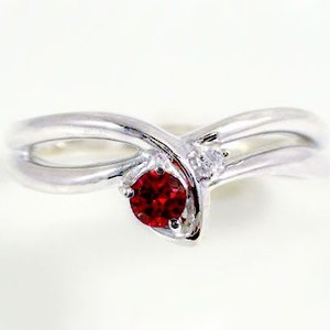 ルビーリング ピンキーリング ホワイトゴールドK18 ダイヤモンド k18WG指輪 天然ルビー 7月誕生石|ma38