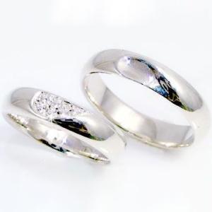 ダイヤモンド ホワイトゴールド ペアリング 結婚指輪 マリッジリング 重ねるとハート K10wg 指輪 ダイヤ 0.06ct ストレート カップル ma38