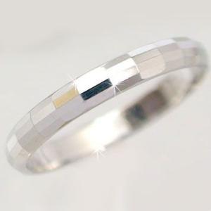 ホワイトゴールド ダイヤカット加工 ペアリング 結婚指輪 ピンキーリング K10wg 指輪|ma38