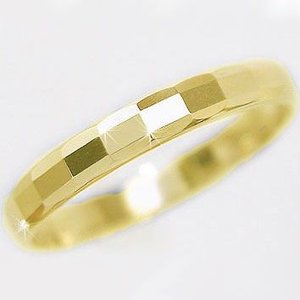 ゴールド ダイヤカット加工 ペアリング 結婚指輪 ピンキーリング K10yg 指輪|ma38