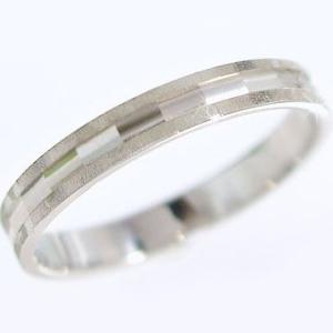 ホワイトゴールド ダイヤカット加工 ピンキーリング ペアリング 結婚指輪  K10wg ストレート カップル|ma38