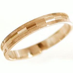 ピンクゴールド 指輪 ダイヤカット加工 ペアリング 結婚指輪 K10pg ストレート カップル|ma38