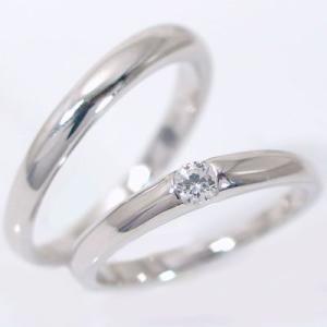 ダイヤモンド ホワイトゴールド ペアリング 結婚指輪 マリッジリング ペア 2本セット K18wg ダイヤ 0.1ct ストレート カップル|ma38