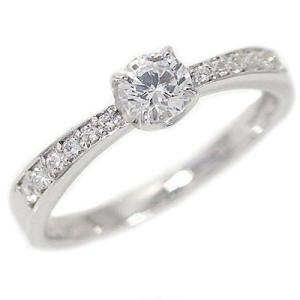鑑定書付 プラチナ ダイヤモンド 婚約指輪 エンゲージリング ダイヤ 0.3ct E-VVS1-3EX H&C 脇ダイヤ 0.1ct PT900|ma38