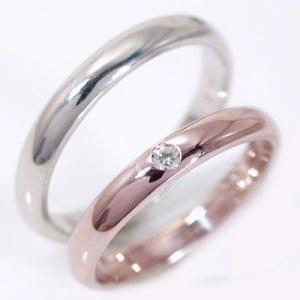 ダイヤモンド ピンクゴールド ホワイトゴールド ペアリング 結婚指輪 マリッジリング  2本セット K18  ダイヤ 0.02ct 甲丸 ストレートストレート カップル ma38