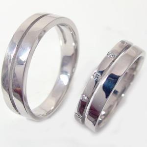 ダイヤモンド シルバー ペアリング 結婚指輪 マリッジリング ダイヤ 0.06ct  2本セット SV925 ストレート カップル|ma38