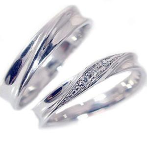 ダイヤモンド シルバー ペアリング 結婚指輪 マリッジリング 2本セット SV925 ダイヤ 0.04ct ストレート カップル|ma38