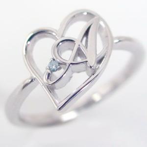 イニシャル リング オープンハート ホワイトゴールドk10 ブルーダイヤ K10wg 指輪 名前 ネームの頭文字 アルファベット A ma38