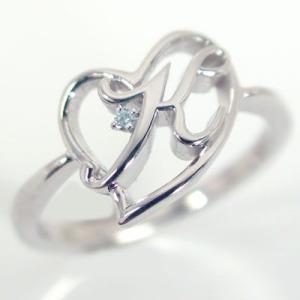 イニシャル リング オープンハート ホワイトゴールドk10 ブルーダイヤ K10wg 指輪 名前 ネームの頭文字 アルファベット K ma38