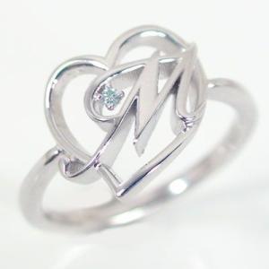 イニシャル リング オープンハート ホワイトゴールドk10 ブルーダイヤ K10wg 指輪 名前 ネームの頭文字 アルファベット M ma38