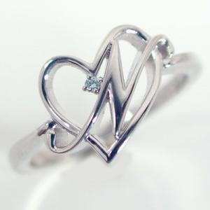イニシャル リング オープンハート ホワイトゴールドk10 ブルーダイヤ K10wg 指輪 名前 ネームの頭文字 アルファベット N ma38