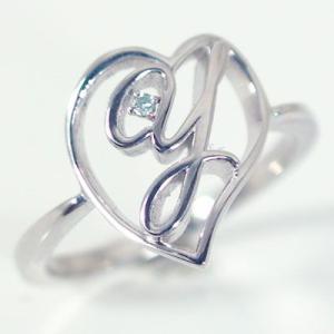 イニシャル リング オープンハート ホワイトゴールドk10 ブルーダイヤ K10wg 指輪 名前 ネームの頭文字 アルファベット Y ma38