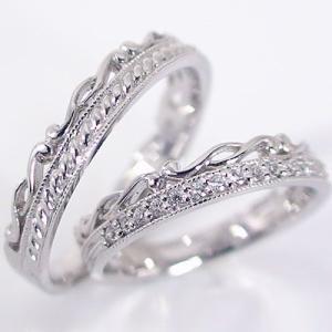 ダイヤモンド ホワイトゴールド ペアリング 結婚指輪 マリッジリング ペア 2本セット K18wg 指輪 ダイヤ 0.1ct|ma38