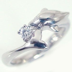 ダイヤモンドリング ホワイトゴールドk10 ドルフィンリング 天然ダイヤモンド0.1ct K10wg ma38