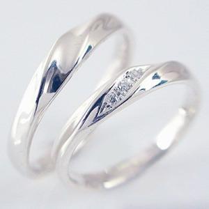 ダイヤモンド ホワイトゴールド ペアリング 結婚指輪 マリッジリング 2本セット k10wg ダイヤ 0.03ctストレート カップル ma38