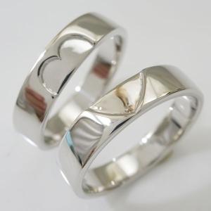 シルバー ペアリング  結婚指輪 マリッジリング  2本セット SV925 重ねるとハート|ma38