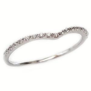 プラチナ ダイヤモンド V字 ハーフ エタニティー リング Pt900|ma38