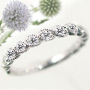 ハーフ エタニティリング ダイヤモンド ホワイトゴールドk18 K18wg 指輪 ダイヤ 0.22ct|ma38