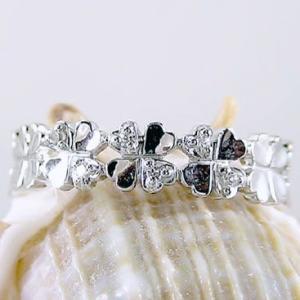 ダイヤモンドリング ホワイトゴールドk10 四葉 クローバー K10wg 指輪 ダイヤ 0.03ct ma38
