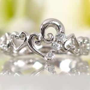 ハート ダイヤモンドリング プラチナ900  ピンキー リング Pt900 ダイヤ 0.05ct|ma38
