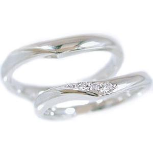 プラチナ ダイヤモンド ペアリング 結婚指輪 マリッジリング 2本セット Pt900 ダイヤ 0.03ctストレート カップル|ma38