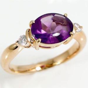 アメジスト リング ダイヤモンド ピンクゴールドk18 指輪 2月誕生石 バフトップカット K18pg|ma38